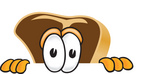 Clip Art Graphic of a Beef Steak Meat Mascot Character Peeking Over a Surface