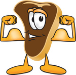 Clip Art Graphic of a Beef Steak Meat Mascot Character Flexing His Strong Arm Muscles