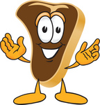 Clip Art Graphic of a Beef Steak Meat Mascot Character Welcoming With Open Arms
