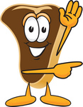 Clip Art Graphic of a Beef Steak Meat Mascot Character Waving and Pointing to the Right