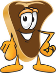 Clip Art Graphic of a Beef Steak Meat Mascot Character Pointing Outwards at the Viewer