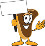 Clip Art Graphic of a Beef Steak Meat Mascot Character Waving a Blank White Advertising Sign