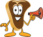 Clip Art Graphic of a Beef Steak Meat Mascot Character Preparing to Make an Announcement With a Red Megaphone Bullhorn