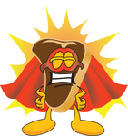 Clip Art Graphic of a Beef Steak Meat Mascot Character in a Super Hero Cape and Mask