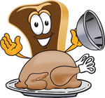 Clip Art Graphic of a Beef Steak Meat Mascot Character Serving a Thanksgiving Turkey on a Platter
