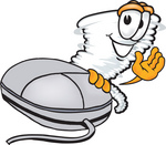 Clip Art Graphic of a Tornado Mascot Character Waving and Standing by a Computer Mouse