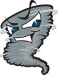 Clip Art Graphic of a Tornado Mascot Character With Evil Blue Eyes