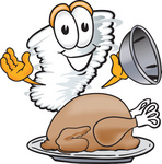 Clip Art Graphic of a Tornado Mascot Character Serving a Thanksgiving Turkey on a Platter