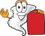 Clip Art Graphic of a Tornado Mascot Character Holding a Red Sales Price Tag