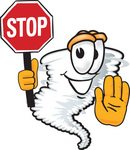 Clip Art Graphic of a Tornado Mascot Character Holding a Stop Sign