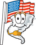 Clip Art Graphic of a Tornado Mascot Character Pledging Allegiance in Front of an American Flag