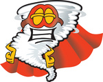 Clip Art Graphic of a Tornado Mascot Character in a Cape and Super Hero Mask