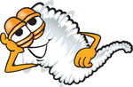 Clip Art Graphic of a Tornado Mascot Character Lying on His Side and Resting His Head on His Hand