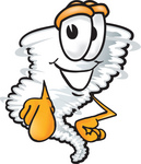 Clip Art Graphic of a Tornado Mascot Character Pointing at the Viewer