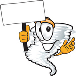 Clip Art Graphic of a Tornado Mascot Character Holding a Blank Sign