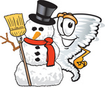Clip Art Graphic of a Tornado Mascot Character With a Snowman