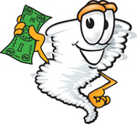 Clip Art Graphic of a Tornado Mascot Character Holding a Dollar Bill