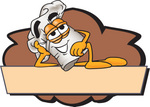 Clip Art Graphic of a White Chefs Hat Cartoon Character Over a Blank Brown Label on a Logo