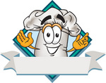 Clip Art Graphic of a White Chefs Hat Cartoon Character Over a Blank Label on a Logo