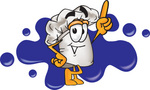 Clip Art Graphic of a White Chefs Hat Cartoon Character With a Blue Paint Splatter