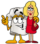 Clip Art Graphic of a White Chefs Hat Cartoon Character With His Arm Around a Blond Woman
