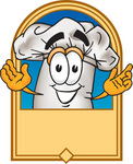 Clip Art Graphic of a White Chefs Hat Cartoon Character on a Label
