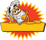 Clip Art Graphic of a White Chefs Hat Cartoon Character Over a Blank Yellow Label on a Logo