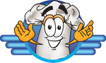 Clip Art Graphic of a White Chefs Hat Cartoon Character on a Blue Logo