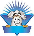 Clip Art Graphic of a White Chefs Hat Cartoon Character Over a Blank Blue Label on a Logo