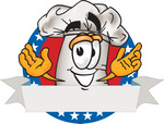 Clip Art Graphic of a White Chefs Hat Cartoon Character Over a Blank Label on a Logo With Stars