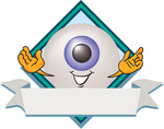 Clip Art Graphic of a Blue Eyeball Cartoon Character Over a Blank White Label