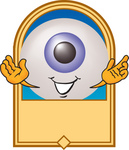 Clip Art Graphic of a Blue Eyeball Cartoon Character on a Blank Label