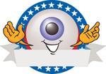 Clip Art Graphic of a Blue Eyeball Cartoon Character Over a Blank White Label With Stars