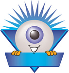 Clip Art Graphic of a Blue Eyeball Cartoon Character Over a Blank Blue Label