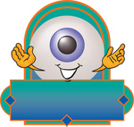 Clip Art Graphic of a Blue Eyeball Cartoon Character Over a Blank Label