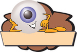 Clip Art Graphic of a Blue Eyeball Cartoon Character Over a Blank Brown Label