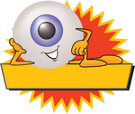 Clip Art Graphic of a Blue Eyeball Cartoon Character Over a Blank Yellow Label
