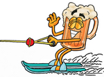 Clip art Graphic of a Frothy Mug of Beer or Soda Cartoon Character Waving While Passing by on Water Skis