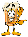 Clip art Graphic of a Frothy Mug of Beer or Soda Cartoon Character Waving and Pointing to the Right