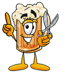 Clip art Graphic of a Frothy Mug of Beer or Soda Cartoon Character Preparing to Cut Something With a Pair of Scissors