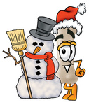 Clip Art Graphic of a Bone Cartoon Character Wearing a Santa Hat and Standing by a Snowman