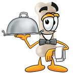 Clip Art Graphic of a Bone Cartoon Character Serving a Dinner Platter While Waiting Tables