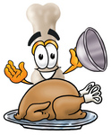 Clip Art Graphic of a Bone Cartoon Character Serving a Thanksgiving Turkey on a Platter