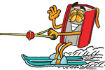 Clip Art Graphic of a Book Cartoon Character Waving While Waterskiing