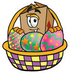 Clip Art Graphic of a Cardboard Shipping Box Cartoon Character in an Easter Basket Full of Decorated Easter Eggs