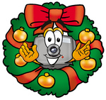 Clip Art Graphic of a Flash Camera Cartoon Character in the Center of a Christmas Wreath