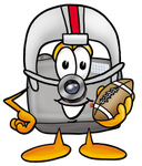 Clip Art Graphic of a Flash Camera Cartoon Character in a Helmet, Holding a Football