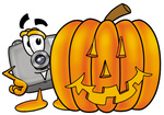 Clip Art Graphic of a Flash Camera Cartoon Character With a Carved Halloween Pumpkin