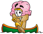 Clip Art Graphic of a Strawberry Ice Cream Cone Cartoon Character Rowing a Boat
