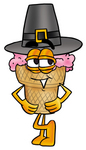 Clip Art Graphic of a Strawberry Ice Cream Cone Cartoon Character Wearing a Pilgrim Hat on Thanksgiving